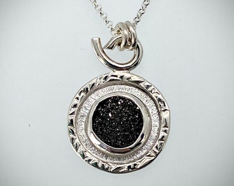 Sterling silver and Black druzy necklace