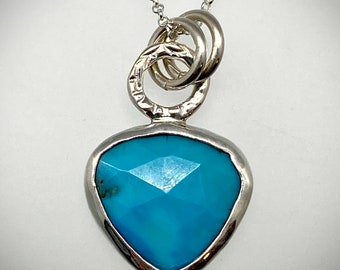 Sterling Faceted Turquoise Bauble Necklace