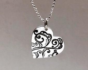 Silver Swirl Heart pendant