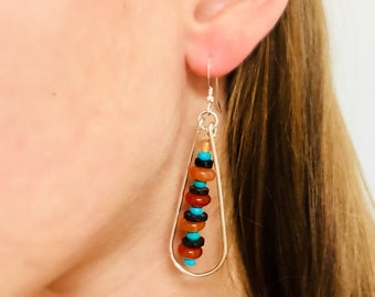 Carneilian Turquoise and Shell with Sterling Silver frame