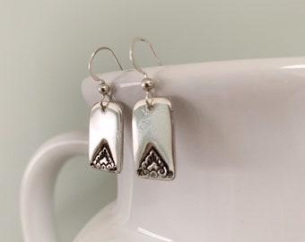 Silver dainty rectangular dangle earrings