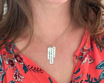 Hand Stamped Personalized Name Necklace    Vertical Bar Name Charm