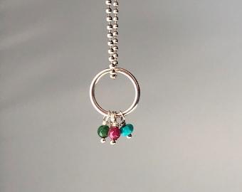 Dainty Custom Birthstone Mother's Ring Pendant