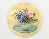 Mother of Pearl-Button or Cabochon, Floral Teacup and Saucer-PR-1811