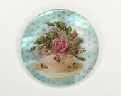 Mother of Pearl-Button or Cabochon, Floral Teacup and Saucer-PR-1807