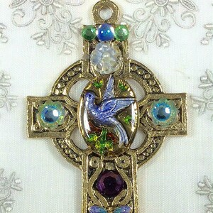 Antique Gold Celtic Cross Pendant in Shades of Blue-BP-2