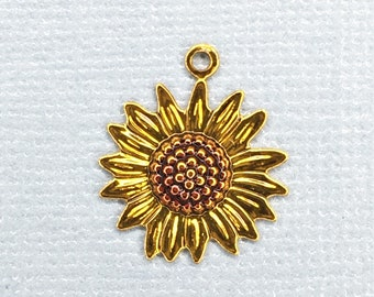 Metal Sunflower Charm-C-926
