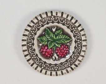 Art Stone Raspberry Picture Button or Cabochon-AS-1098 HP