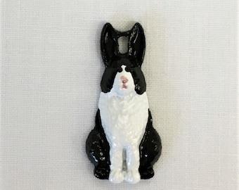 Metal Dutch Rabbit Charm-Hand Painted Embellishment-BE-531