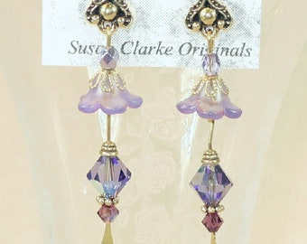 Purple and Lavender Tulip Earrings- J-20