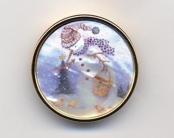 Snowman Feeding Birds Pin