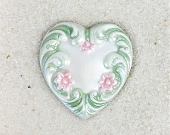 Metal Heart Button-Pearl white w/ pink and green-BE 196