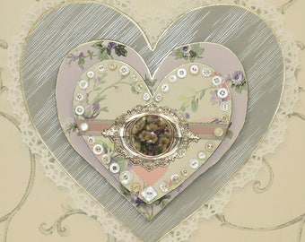Heart Art- Buttons and Lace