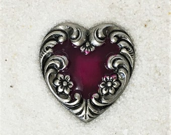 Metal Heart Button-Cranberry on Silver-BE 195