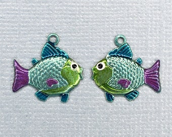 Painted Metal Fish Pair Charm-Green Belly-C-1704