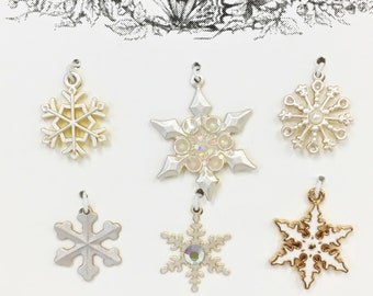 Set of 6 Metal, Pearlescent White, Snowflakes-Set 47