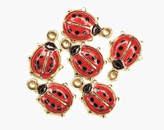 Tiny Ladybug Charm, Button, or Cabochon-C 107