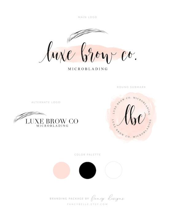 6918e39eb76 Microblading Logo Eye Brow Logo Makeup Artist Logo Design Brow Logo  Branding Watermark Beauty Logo Branding Package Salon Logo Peach Logo