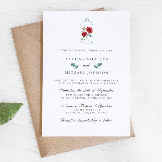 Enchanted Rose Wedding Invitations Be Our Guest Beauty And The Beast