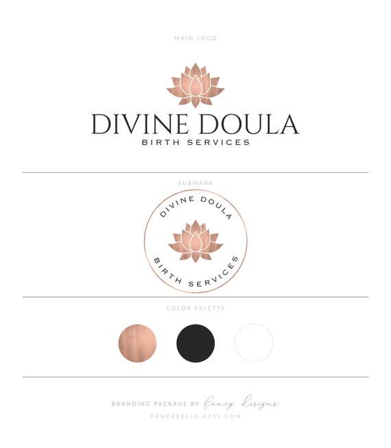 Rose Gold Logo Doula Logo Geburt Dienstleistungen Logo Hebamme Logo Fotografie Logo Lotus Logo Yoga Logo Lotus Blume Zen Logo Branding Paket