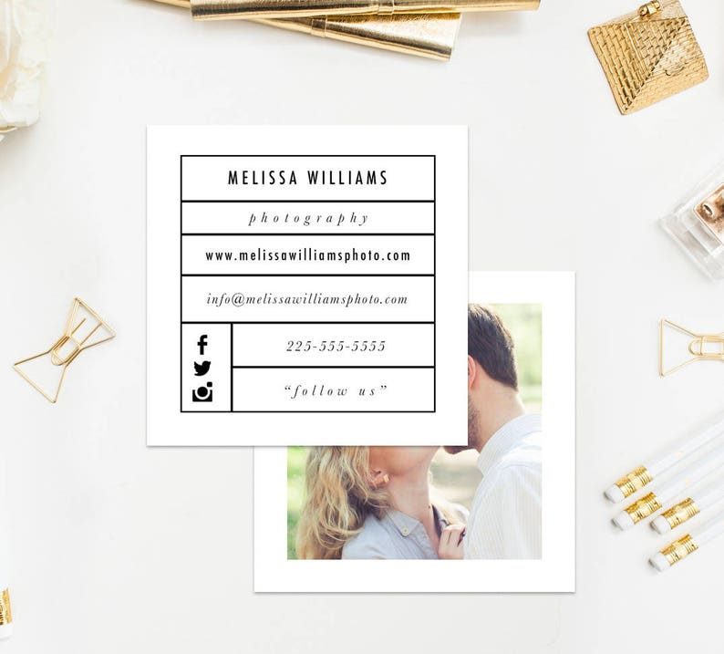 Business Card Template Square Business Card Instant Download Etsy