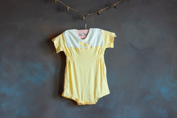 Size 3-6mo • Baby's Butter Yellow Summer Onesie - image 1