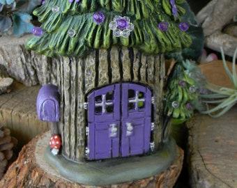 Fairy Tree House  Lighted  Dream Home Night light Lamp purple daisies