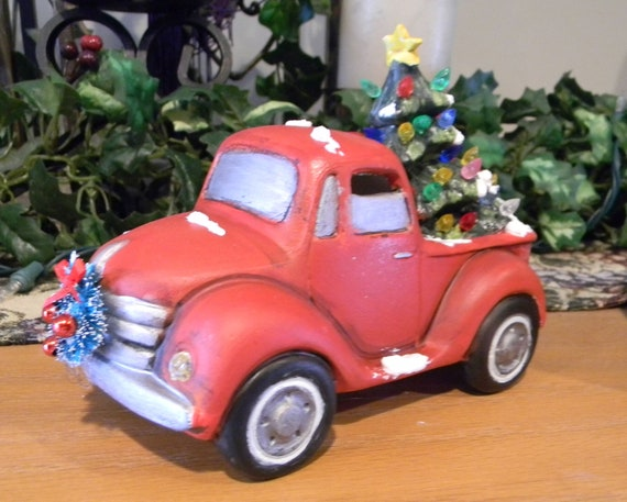 Vintage Red Truck Christmas Decor.Vintage Red Truck Christmas Ceramic Tree Christmas Decor Little Red Truck Ford Chevy Dodge Lighted