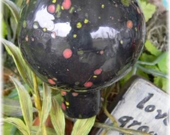 Garden Statue  ORB Fairy Garden  Black Gazing Ball  glazed  Globe   handmade ceramic Pottery Crystal glaze