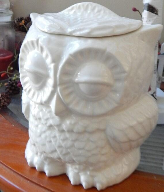 Ceramic Owl Vase Large Kitchen Canister Planter Utensil Etsy