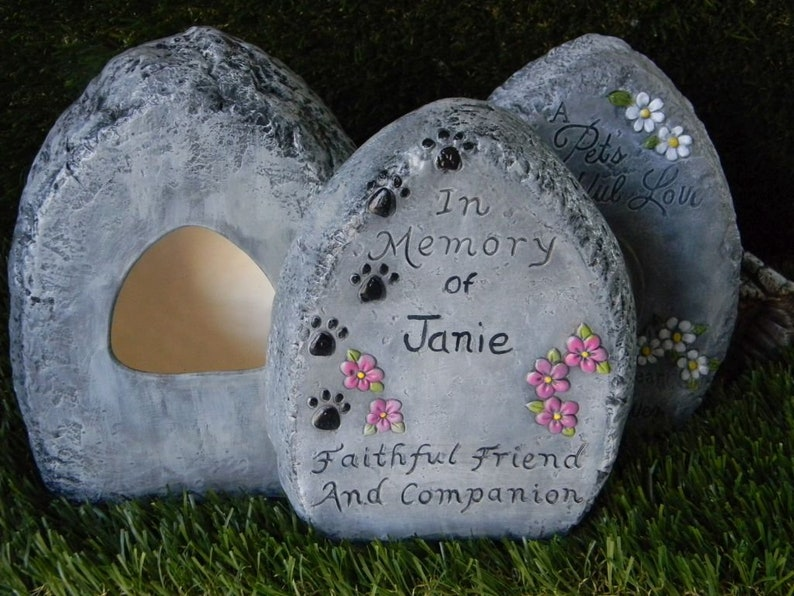 Dog Cat Rabbit  Memorial Grave marker stone Custom made Pet urn Rock
