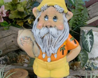 Gnome with Flip Flops  Hippy Hawaiian  Gnome with Shell Beach Boy Gnome - camp site, cabin or Lake house decor