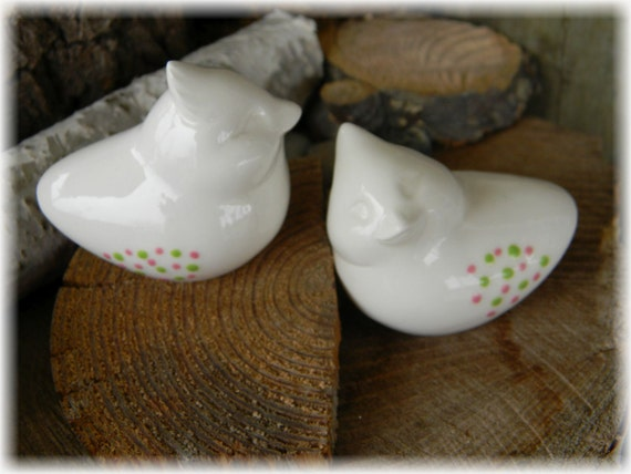 cardinal bird  Cake Topper Ceramic White Glazed