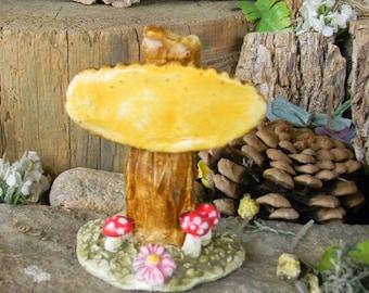 Stump Fairy sign  Terrarium House Miniature Ceramic Glazed