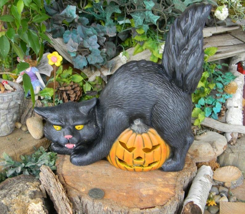 Black Cat In Pumpkin Vintage Halloween Theme Necklace Cute Kitten Good Luck Gift