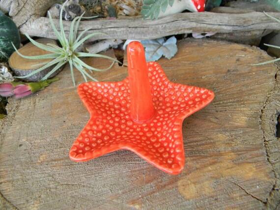 Starfish Ring Dish Jewelry holder ceramic  Ring bearer pottery  green  wedding Beach Ocean Life Decor  handmade pottery gifts under 15