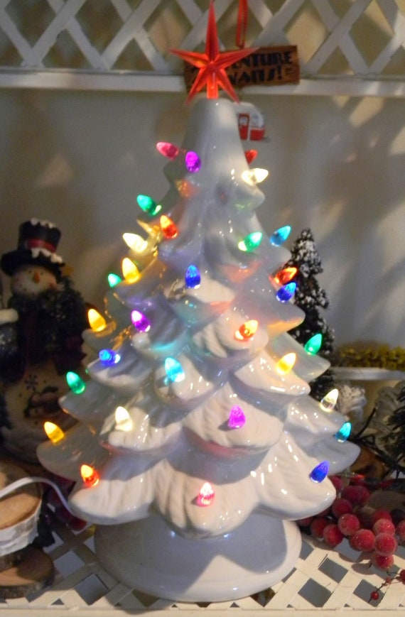 ceramic lighted old fashioned christmas tree 16 tall etsy