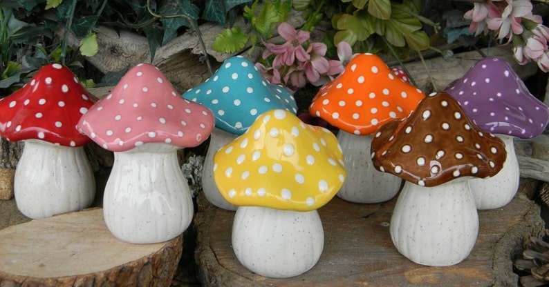 Merveilleux Ceramic Mushroom Garden Toadstool Statue PINK AMANITA Fly Fairy Garden  Gnome Decor Pottery .... Ready To Ship Zm