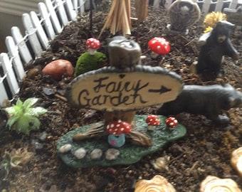 Fairy Garden  TREE Sign  w Fairy door   Miniature handmade  red Amanita muscaria fly agaric amanita