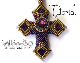 TUTORIAL Beaded Gothic Cross and Trident Pendants with Peyote Stitch