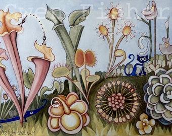 ORIGINAL Art Illustration - The Garden - Watercolor Doodle No. 91