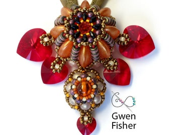 Seven Sisters Pendant with Swarovski Hearts Bronze Glass Seed Beads