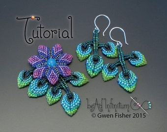 TUTORIAL Cellini Flowers and Leaves, Beaded with Peyote Stitch