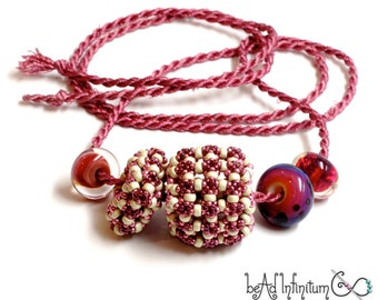 Puff Beaded Bead Necklace in Pinks with Lampwork Glass