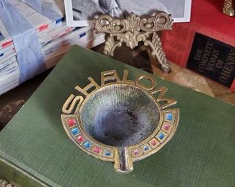 Vintage Shalom Ashtray - Israeli Souvenir - Israel - Jewish - Mid-Century