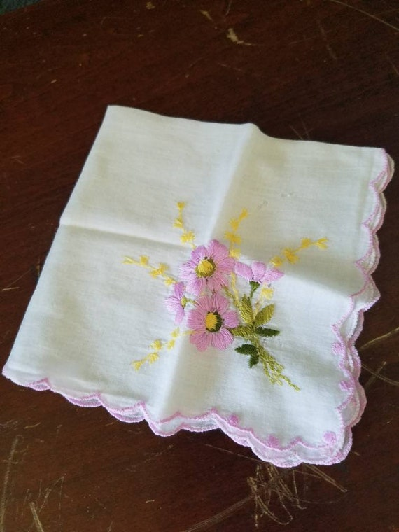 Vintage Bright Pink Ebroidered Mother hanky scalloped edge Embroidered Thistle Pink collectible scalloped edge shabby chic decor