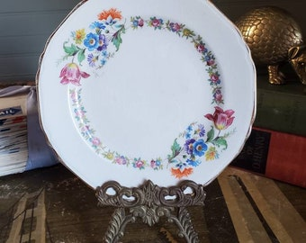 Vintage Dessert Plate - Crown Potteries - Flower Wreath - Mix and Match - Fine China - Small - Roses - Wildflowers