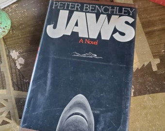 Jaws - Peter Benchley - First Edition - 1974 Copyright - Retired Library Book - Vintage Horror Novel - Great White Shark - Classic