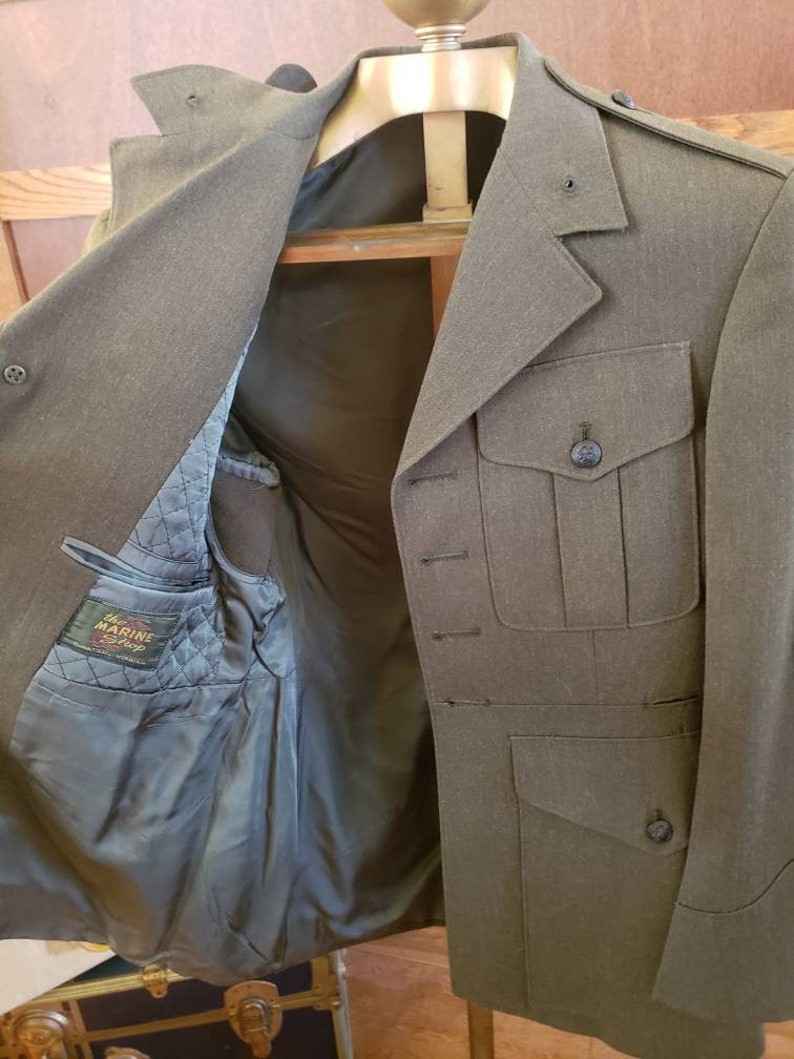 A Alpha Vintage Marine Corps Uniform Coat Service Green