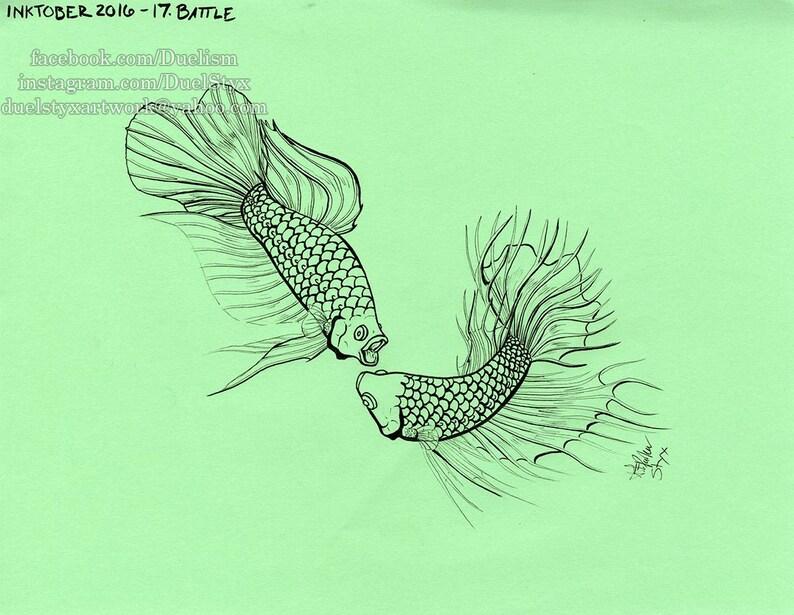 Betta Fish Artwork Betta Splendens Art Fish Tattoo Design Etsy